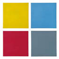 f. installation of four untitled (yellow blue grey red) square paintings